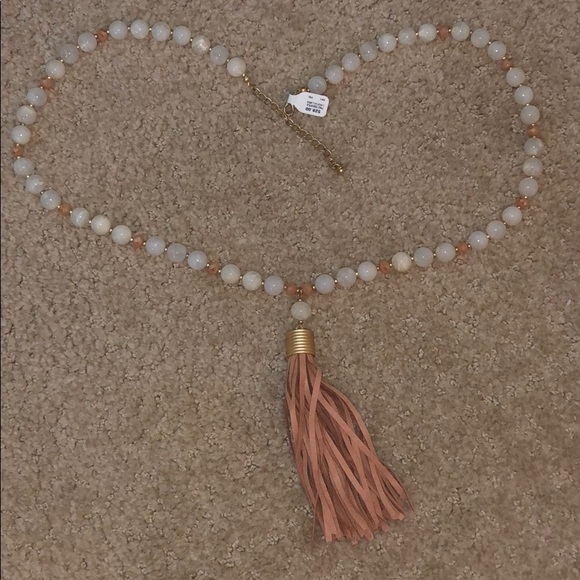 Francesca's Collections Jewelry - Long beaded necklace with suede pendant